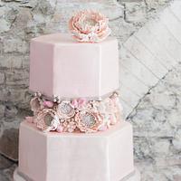 Blush hexagon wedding cake