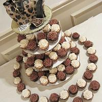 Leopard cupcake tower