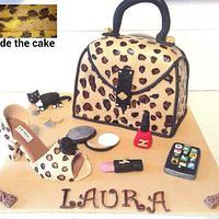 Handbag, shoe and make up with leopard print sponge