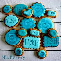 Aqua theme Wedding Cookies