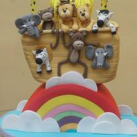 Noahs Ark and Rainbow tiered Christening Cake