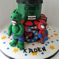 Spider-Man & Hulk 5th Birthday Cake
