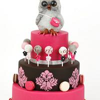 Disco owl in pink and black
