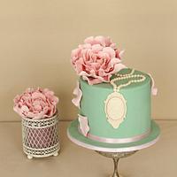 Mint green vintage cake