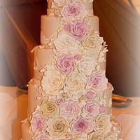 7 Tier Rose Cascade Wedding cake