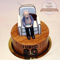 80th birthday fondant cake - Tarta fondant 80 cumpleaños