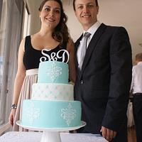 Tiffany blue engagement cake