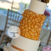 Gold Rose Petal Wedding Cake