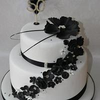 50th birthday black and white tiered cake