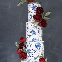 """Hand-painted """"Blue and White Porcelain"""" with Deep Red David Austins in Gumpaste"""