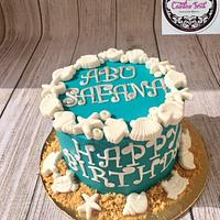 seashells summer themed cake