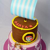 Jake the Pirate and Princess Sofia Cake by Strawberry Lane Cake Company