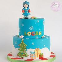Christmas Hanbok First Birthday Cake