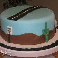 Desert Highway Birthday Cake
