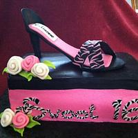 Sweet 16 Zebra High Heel Shoe on Shoe Box