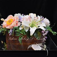 Sugar Crate with Gumpaste Flowers