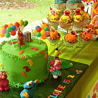 Elmo Theme Cake and Cupcakes by Shelly-Anne