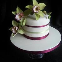Sugar cymbidium Orchid Cake