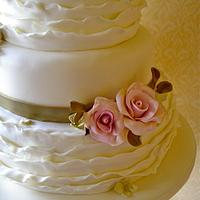 Roses & Ruffles wedding cake by Lynette Horner