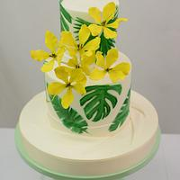 Monstera Leaf and Golden Shower Tree Flowers