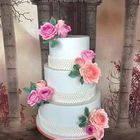 Wedding cake pink&peach