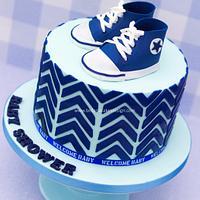Navy baby Converse cake