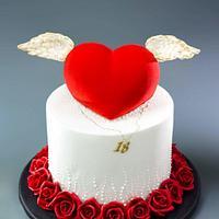 Angel Velvet Heart Cake