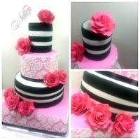 Pink, Black ,and White cake