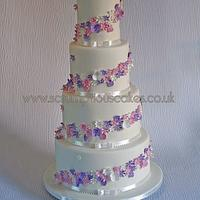 Delicate Flowers Wedding Cake