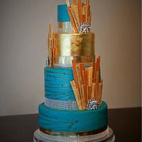 Teal and Gold Art Deco Wedding Cake