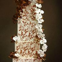 Bronze Lace Orchid Wedding Cake