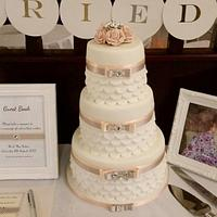 wedding cake peach and silver with personalised post box guest boox
