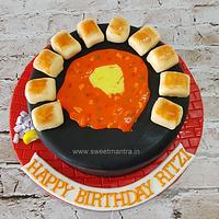 Pav Bhaji theme customized designer fondant cake with 3D pav for a pav bhaji lover's birthday