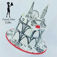 Travel Cake - London, Paris, Rome!