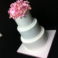 Pink & Peach Wedding Cake :) by DowntownCityCakes