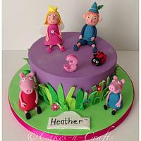 Ben and holly, peppa and George pig cake