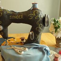 Vintage Sewing Machine cake by Ming