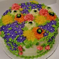 Summer floral cake (100% buttercream)