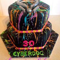 Neon cake splatter cake
