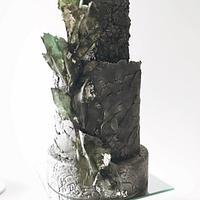 Textured wedding cake in black