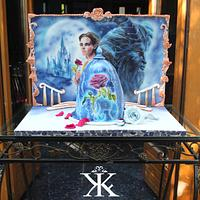Beauty and the Beast airbrushed cake