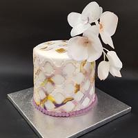 Marbled cake with rice paper orchids