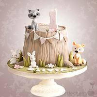 Woodland Animal Tree Stump Cake