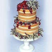 Naked wedding cake with lavender