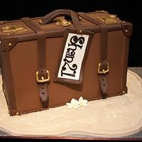 Vintage Suitcase (Upright) with Footprints in sand for a 21st Cake