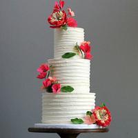 Rustic Buttercream Wedding Cake with Sugar Flowers