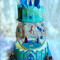 Frozen cake with glass