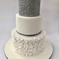 Sequins and Ruffles Wedding Cake
