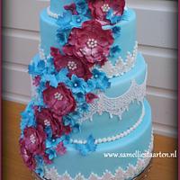 Blue and Pink weddingcake