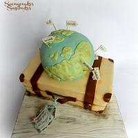 Travel Theme - Globe & Suitcase Cake